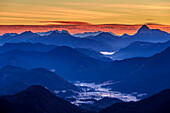 Morning mood above Jachenau with Bavarian Alps and Guffert in background, from Herzogstand, Bavarian Alps, Upper Bavaria, Bavaria, Germany