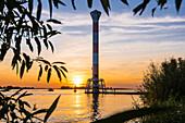 Sunset, Lighthouse, Elbe, Blankenese, Hamburg, Germany