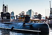 Museum Boat U-434, Elbphilharmonie, harbour, Hamburg, Germany