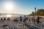Sunset, Elbe beach, Rissener Ufer, Hamburg, Germany