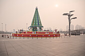 corny christmas decoration at Olympic Green during heavy air pollution, Beijing, China, Asia