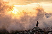 Young woman on a rock, sunrise with dramatic cloud scenery, Corsica