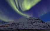 Polarlicht über einem verschneiten Berg in den Westfjorden, Island