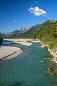 River Lech and valley of Lech with Allgaeu Alps, Lechweg, Forchach, valley of Lech, Tyrol, Austria