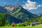 Woman hiking on Lechweg through meadow, Lechtal Alps in background, Martinau, Lechweg, valley of Lech, Tyrol, Austria