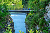 Several persons standing on bridge above Lechfall, Lechfall, Fuessen, Lechweg, Swabia, Bavaria, Germany