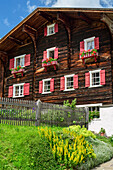 Old Walser farmhouse with garden, farmhouse, Warth, Lechweg, valley of Lech, Tyrol, Austria