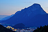 Kufstein at night with illuminated castle and Pendling in background, from valley of Kaiser, Wilder Kaiser, Kaiser Mountains, Tyrol, Austria