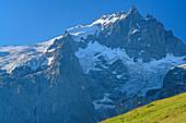 Woman hiking in front of Meije in Ecrins region, Plateau d' Emparis, National Park Ecrins, Dauphine, Dauphiné, Hautes Alpes, France