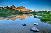 Lake Lac Cerces with Grand Galibier and Aiguilles d' Arves, lake Lac Cerces, Dauphine, Dauphiné, Hautes Alpes, France