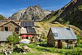 Hut refuge de la lavey with Aiguille Du Plat de La Selle, Ecrins, Ecrins National Park, Dauphiné, Dauphiné, Hautes Alpes, France