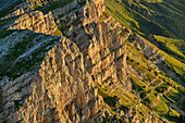 Rock crashes of the Vercors in the first light, from the Grand Veymont, Vercors, Dauphine, Dauphine, Isère, France