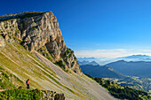 Woman while hiking Enjoy the views, from the Grand Veymont, Vercors, Dauphine, Dauphine, Isère, France