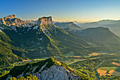 Grand Veymont and Mont Aiguille in the morning light, from the Tête Chevalier, Vercors, Dauphine, Dauphine, Isère, France