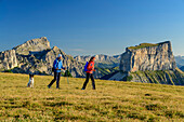 A man and a woman with dog walking on meadow with Grand Veymont and Mont Aiguille in the background, from the Tête Chevalier, Vercors, Dauphine, Dauphine, Isère, France