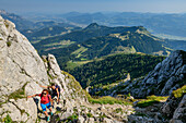Two women while hiking, climb up to the Hoher Göll Schuster dough, High Goll, Berchtesgaden Alps, Upper Bavaria, Bavaria, Germany