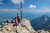 Several people at the top of the Hoher Göll Pause, High Goll, Berchtesgaden Alps, Upper Bavaria, Bavaria, Germany