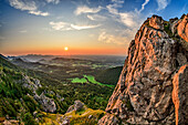Sunset over samerberg and mangfall mountains, high-ries, Chiemgau Alps, Chiemgau, Upper Bavaria, Bavaria, Germany