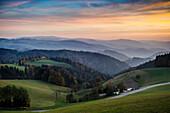 View of hilly landscape,  evening light, near St Märgen, Black Forest, Baden-Württemberg, Germany