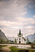 typical stave church in countryside of Norway, Scandinavia, Europe