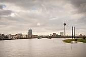 view towards Rhine bridge and TV tower of Duesseldorf, North Rhine-Westphalia, Germany