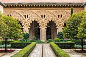 Patio of Saint Isabel, Aljaferia palace, Zaragoza, Aragon, Spain, Europe.