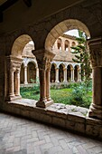 The cloister of Colegiata de Santa Maria la Mayor. Alquezar, Huesca, Aragon, Spain, Europe.