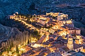 Albarracin town at dusk. Albarracin, Teruel, Aragon, Spain, Europe.
