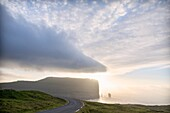 Cliffs of Risin og Kellingin seen from Eidi, Eysturoy Island, Faroe Islands, Denmark.