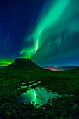 Aurora Borealis, Mt. Kirkjufell, Grundarfjordur, Iceland.