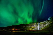 Aurora Borealis, Seljalandsfoss, Iceland.