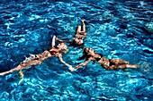 Greece, Crete, Greece, friends together in sea, women