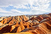 Eroded hills of sedimentary conglomerate and sandstone,. Unesco World Heritage, Zhangye, China.