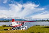 Seaplane or floatplane at Lake Hood Seaplane Base the world's busiest seaplane base located in Acnhorage Alaska.