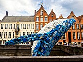 Skyscraper (the Bruges Whale) by Studio KCA (USA) is a giant sculpture, constructed from waste material as part of the Triennial for Contemporary Art and Architecture entitled 'Liquid City', an art route through the heart of the historic city. The central