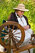 Reenactor spinning wool, Travelers Rest State Park, Lewis and Clark National Historic Trail, Montana.