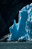 Towers of blue ice shine at the glacier edge, Garibaldi Glacier, near Beagle Canal, Alberto de Agostini National Park, Magallanes y de la Antartica Chilena, Patagonia, Chile, South America
