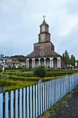 View of the late 19th century wooden church Iglesia Nuestra Senora de Gracia de Nercón, a UNESCO World Heritage site, Castro, Chiloe Island, Los Lagos, Patagonia, Chile, South America