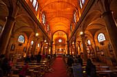 Interior of the wooden Church of San Francisco (Iglesia de San Francisco), a UNESCO World Heritage Site, Castro, Chiloe Island, Los Lagos, Patagonia, Chile, South America