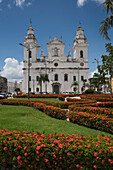 View across the park of the historic Our Lady of Grace Cathedral (Catedral Nossa Senhora das Graças), also called Catedral Nossa Senhora de Belém, built between 1748 & 1782, Belem, Para, Brazil, South America