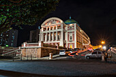Nighttime view of the Amazon Theatre (Teatro Amazonas) in the heart of the city, Manaus, Amazonas, Brazil, South America