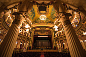 View of the empty stage, box-seats and ceiling of the Amazon Theatre (Teatro Amazonas), Manaus, Amazonas, Brazil, South America