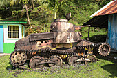 This Japanese tank at the Lidorkini Museum is a relic of the WWII occupation of the island, Pohnpei Island, Pohnpei, Federated States of Micronesia, South Pacific