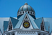 Dome and roof detail of the blue, white and black Immaculate Conception Cathedral (also called Cathedral of Apia or Mulivai Cathedral), built on the site of the original mid-19th-Century church and opened in 2014, Apia, Upolu, Samoa, South Pacific