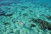 Eine Frau in einem blauen Bikini und Schwimmflossen schnorchelt auf der Wasseroberfläche der Lagune über dunkle Korallen, Bora Bora, Gesellschaftsinseln, Französisch-Polynesien, Südpazifik