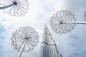 Burj Khalifa, Wolken, Downtown, Dubai, VAE, Vereinigte Arabische Emirate