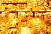 Gold, Jewellery, Store Window, Dubai City of Gold, Gold Souk, Deira, Dubai, UAE, United Arab Emirates