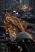 Night, Traffic, Skyline, Dubai Metro Stations, Sheikh Zayed Road, Dubai, UAE, United Arab Emirates