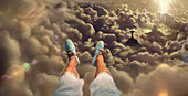 Selfie with feet, aerial of Rio de Janeiro at sunset with Cristo statue, Corcovado Mountain and the Sugarloaf, Rio de Janeiro, Rio de Janeiro, Brazil, South America