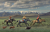 Children on horseback with landscape, Naadam festival, Gobi Steppe, Mongolia, Asia